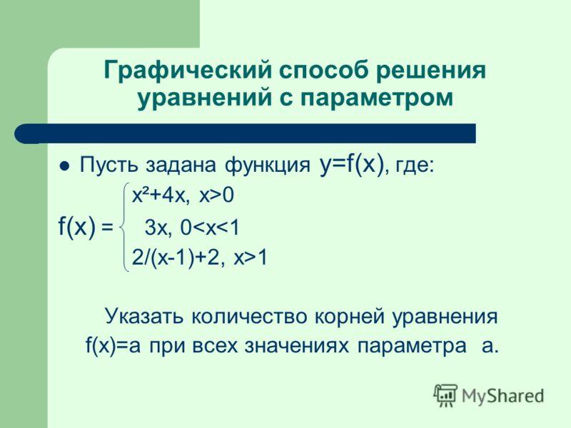 Графический способ решения уравнений с параметром Пусть задана функция y=f(x), где: x²+4x, x>0 f(x) = 3x, 0