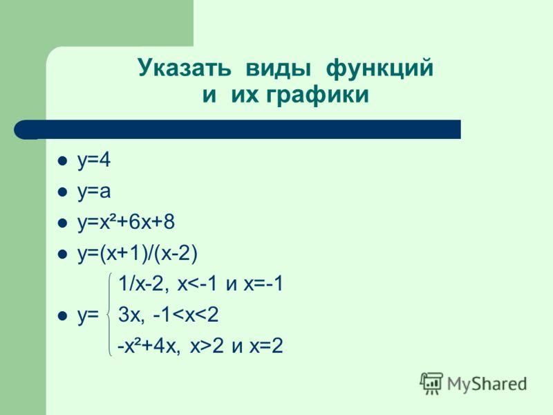 Указать виды функций и их графики у=4 у=а y=x²+6x+8 y=(x+1)/(x-2) 1/x-2, x