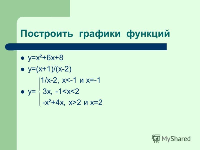 Построить графики функций y=x²+6x+8 y=(x+1)/(x-2) 1/x-2, x