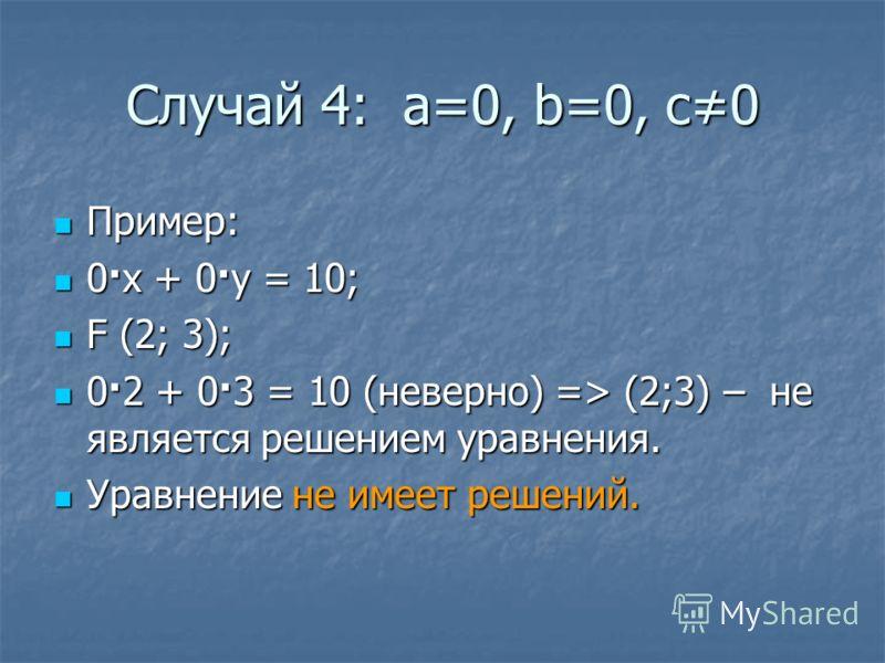 Случай 4: а=0, b=0, c0 Пример: Пример: 0·x + 0·y = 10; 0·x + 0·y = 10; F (2; 3); F (2; 3); 0·2 + 0·3 = 10 (неверно) => (2;3) – не является решением уравнения. 0·2 + 0·3 = 10 (неверно) => (2;3) – не является решением уравнения. Уравнение не имеет реше
