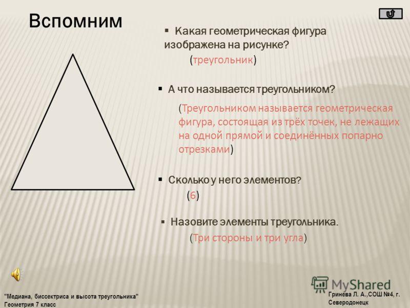 Содержание О бермудском треугольнике Вспомним Медиана Высота Биссектриса Это интересно!! Решаем вместе Тест Самопроверка Запомни Домашнее задание Литература