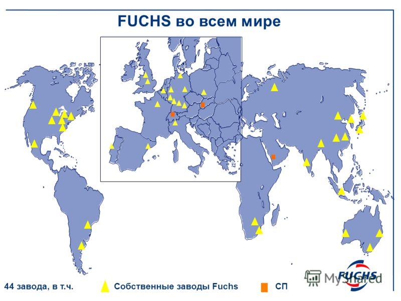 Собственные заводы Fuchs СП 44 завода, в т.ч. FUCHS во всем мире