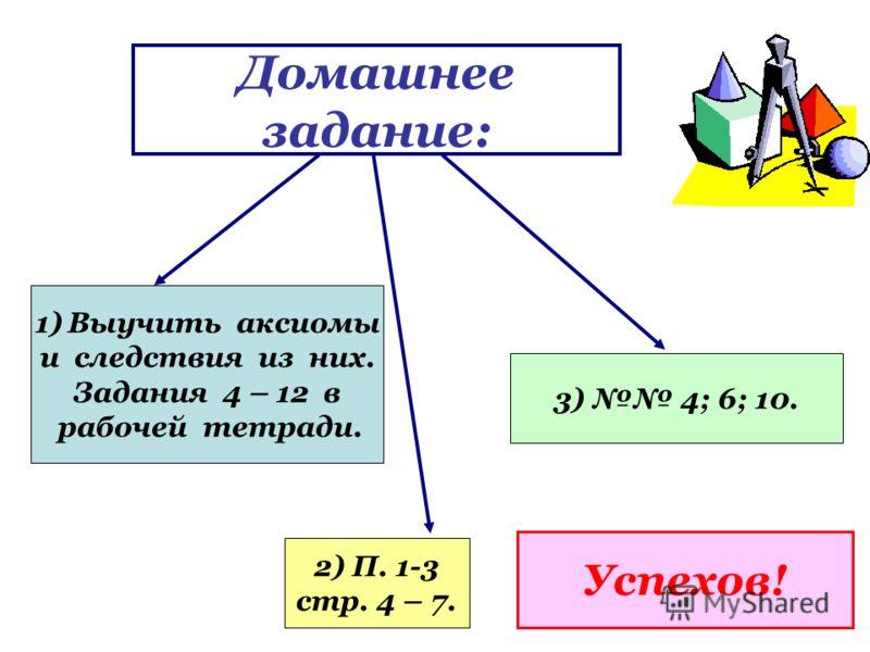 Домашнее задание: 1)Выучить аксиомы и следствия из них. Задания 4 – 12 в рабочей тетради. 2) П. 1-3 стр. 4 – 7. 3) 4; 6; 10. Успехов!
