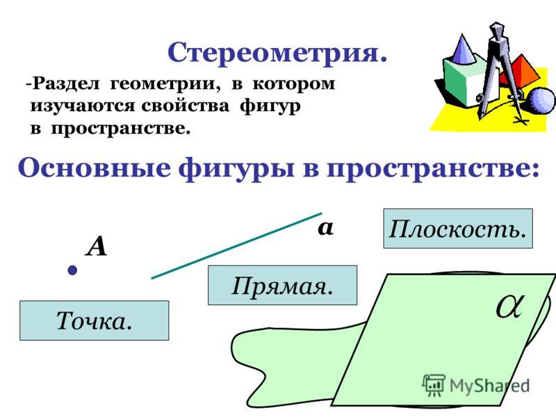 Стереометрия. -Р-Раздел геометрии, в котором изучаются свойства фигур в пространстве. Основные фигуры в пространстве: А Точка. а Прямая. Плоскость.