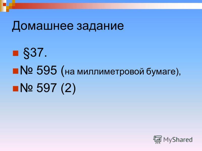 Домашнее задание §37. 595 ( на миллиметровой бумаге), 597 (2)