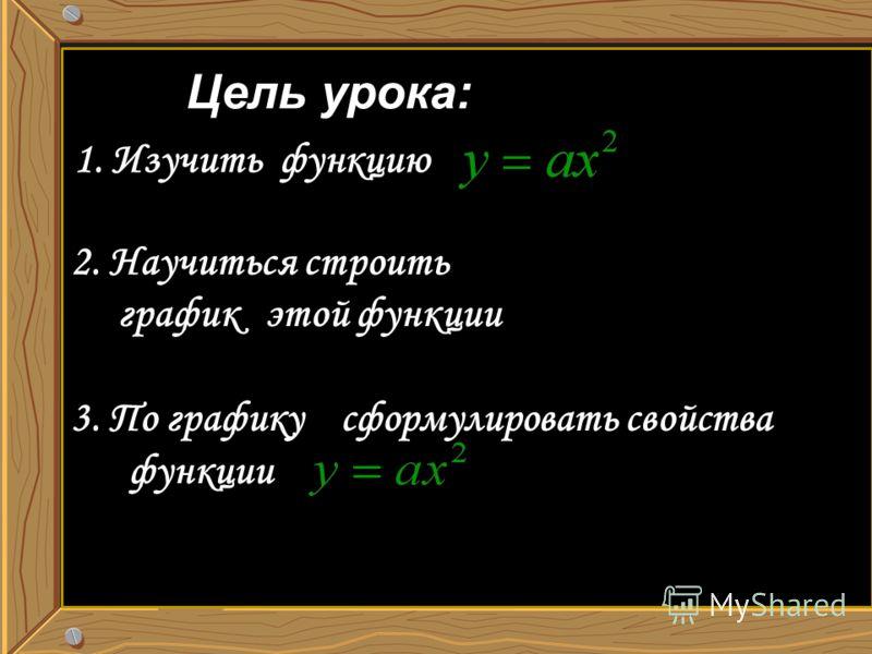 Цель урока: 1. Изучить функцию 2. Научиться строить график этой функции 3. По графику сформулировать свойства функции
