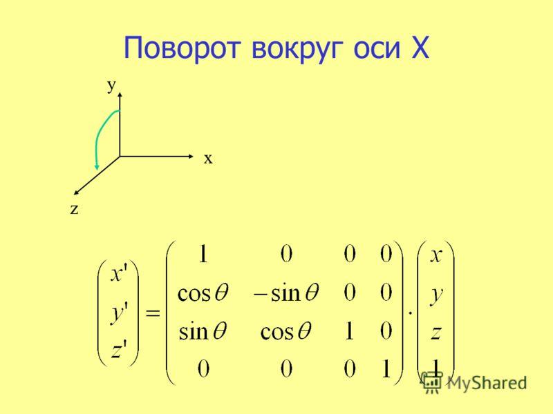 Поворот вокруг оси X x z y