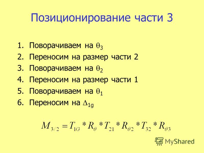 Позиционирование части 3 1.Поворачиваем на 3 2.Переносим на размер части 2 3.Поворачиваем на 2 4.Переносим на размер части 1 5.Поворачиваем на 1 6.Переносим на 1g