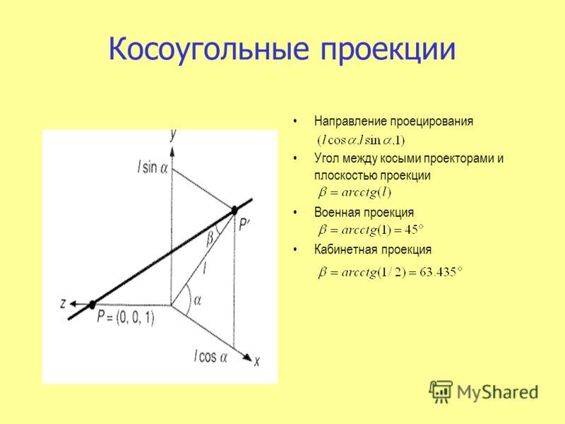 Направление проецирования Угол между косыми проекторами и плоскостью проекции Военная проекция Кабинетная проекция Косоугольные проекции