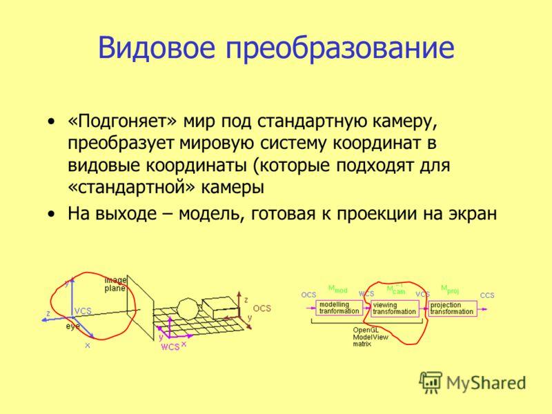 Видовое преобразование «Подгоняет» мир под стандартную камеру, преобразует мировую систему координат в видовые координаты (которые подходят для «стандартной» камеры На выходе – модель, готовая к проекции на экран