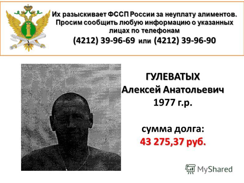 ГУЛЕВАТЫХ Алексей Анатольевич 1977 г.р. сумма долга: 43 275,37 руб.