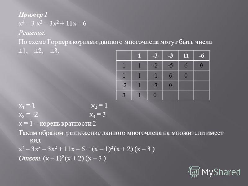 Пример 1 x 4 – 3 x 3 – 3x 2 + 11x – 6 Решение. По схеме Горнера корнями данного многочлена могут быть числа ±1, ±2, ±3, x 1 = 1 x 2 = 1 x 3 = -2x 4 = 3 x = 1 – корень кратности 2 Таким образом, разложение данного многочлена на множители имеет вид x 4