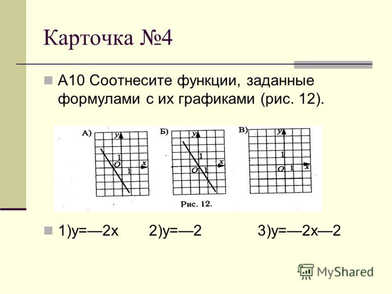 Карточка 4 А10 Соотнесите функции, заданные формулами с их графиками (рис. 12). 1)у=2х 2)у=2 3)у=2х2