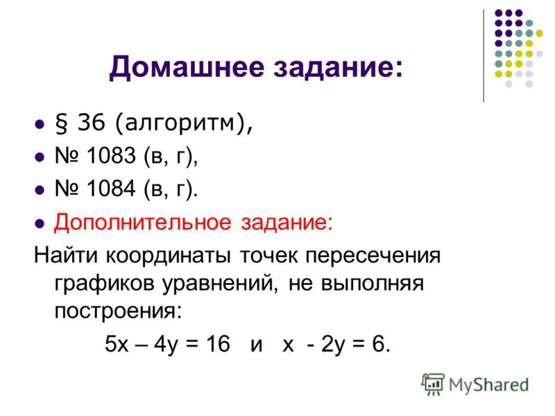 Домашнее задание: § 36 (алгоритм), 1083 (в, г), 1084 (в, г). Дополнительное задание: Найти координаты точек пересечения графиков уравнений, не выполняя построения: 5х – 4у = 16 и х - 2у = 6.