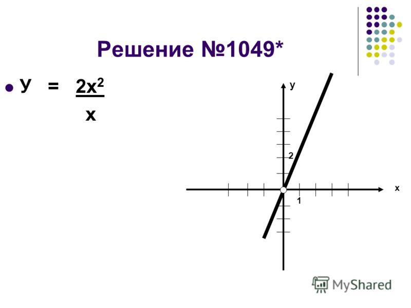 Решение 1049* У = 2х 2 х у х 1 2