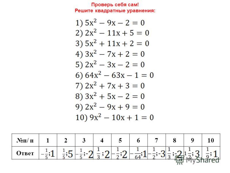 Проверь себя сам! Решите квадратные уравнения: п/ п12345678910 Ответ ; ; ; ; ; ; ; ;;;