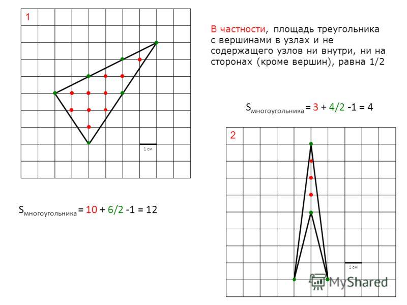 1 1 см 2 В частности, площадь треугольника с вершинами в узлах и не содержащего узлов ни внутри, ни на сторонах (кроме вершин), равна 1/2 S многоугольника = 10 + 6/2 -1 = 12 S многоугольника = 3 + 4/2 -1 = 4