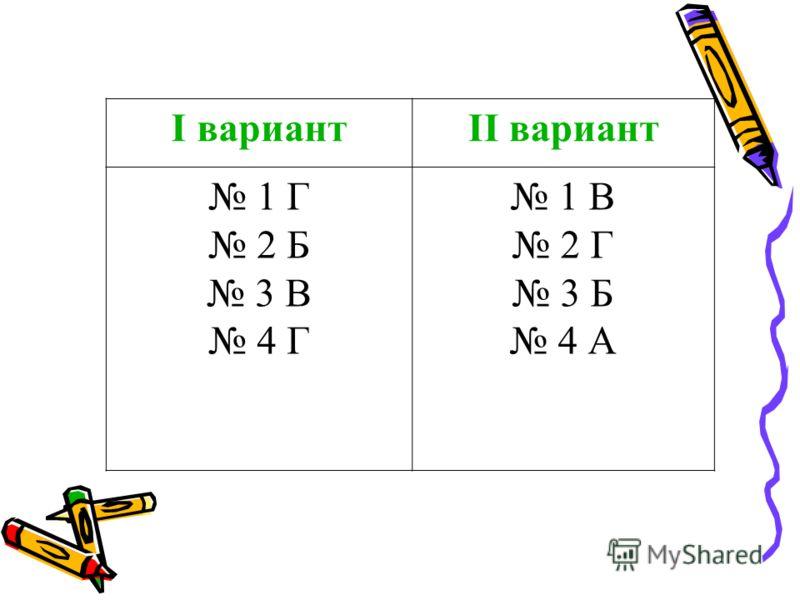 I вариантII вариант 1 Г 2 Б 3 В 4 Г 1 В 2 Г 3 Б 4 А