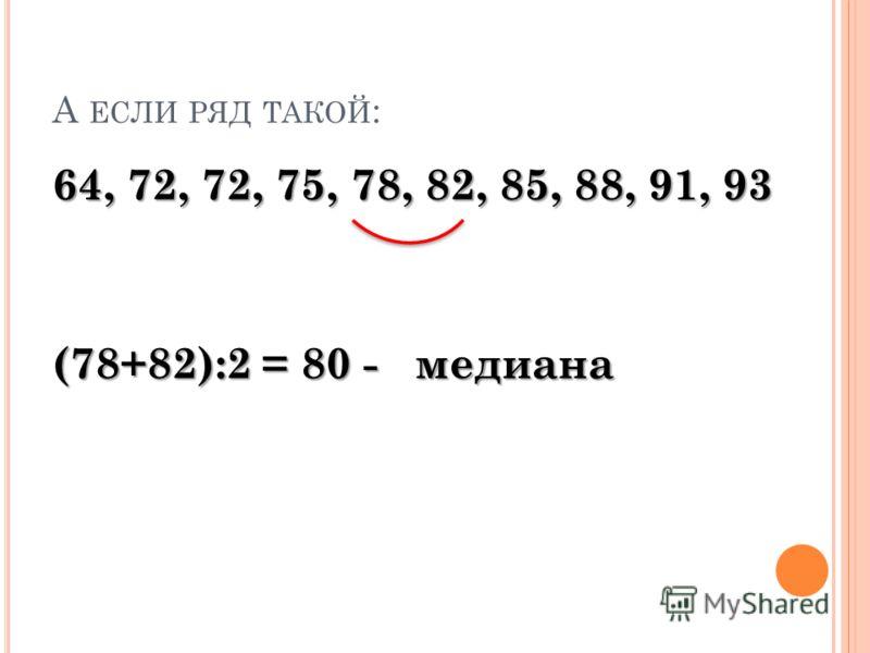 А ЕСЛИ РЯД ТАКОЙ : 64, 72, 72, 75, 78, 82, 85, 88, 91, 93 (78+82):2 = 80 - медиана