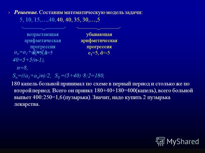 Решение. Составим математическую модель задачи: 5, 10, 15, …,40, 40, 40, 35, 30, …,5 а п =а 1 +d(n-1), 40=5+5(п-1), п=8, S п =((a 1 +a п )n)/2, S 8 =(5+40)·8:2=180, 180 капель больной принимал по схеме в первый период и столько же по второй период. В
