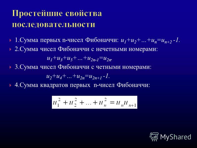 1.Сумма первых n-чисел Фибоначчи: u 1 +u 2 +…+u n =u n+2 -1. 2.Сумма чисел Фибоначчи с нечетными номерами: u 1 +u 3 +u 5 +…+u 2n-1 =u 2n. 3.Сумма чисел Фибоначчи с четными номерами: u 2 +u 4 +…+u 2n =u 2n+1 -1. 4.Сумма квадратов первых n-чисел Фибона