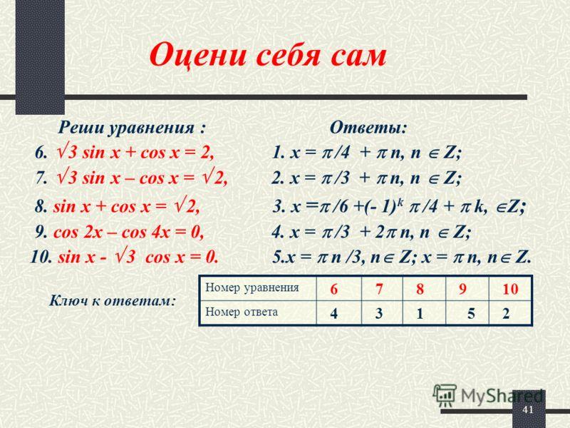 41 Оцени себя сам Реши уравнения : Ответы: 6. 3 sin x + cos x = 2, 1. x = /4 + n, n Z; 7. 3 sin x – cos x = 2, 2. x = /3 + n, n Z; 8. sin x + cos x = 2, 3. x = /6 +(- 1) k /4 + k, Z ; 9. cos 2x – cos 4x = 0, 4. x = /3 + 2 n, n Z; 10. sin x - 3 cos x