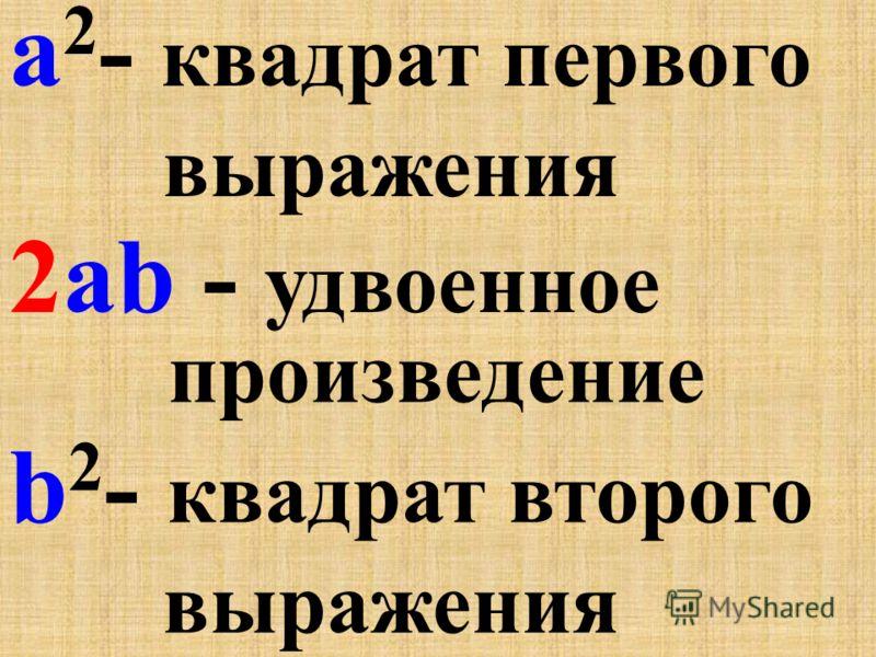 (a + b) 2 = a 2 +2ab +b 2 Квадрат суммы. Квадрат разности. (a - b) 2 = a 2 -2ab +b 2