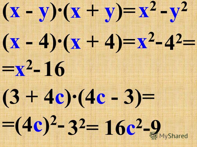 (a + b) - сумма двух выражений (a - b) - разность двух выражений a 2 - b 2 - разность квадратов двух выражений