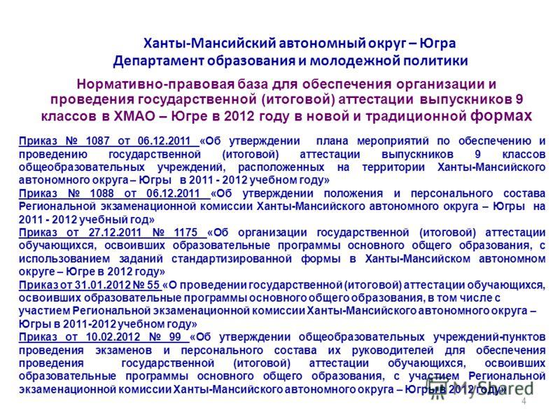 Ханты-Мансийский автономный округ – Югра Департамент образования и молодежной политики Нормативно-правовая база для обеспечения организации и проведения государственной (итоговой) аттестации выпускников 9 классов в ХМАО – Югре в 2012 году в новой и т