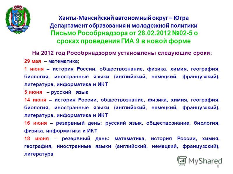 На 2012 год Рособрнадзором установлены следующие сроки: – математика; 29 мая – математика; 1 – история России, обществознание, физика, химия, география, биология, иностранные языки (английский, немецкий, французский), литература, информатика и ИКТ 1
