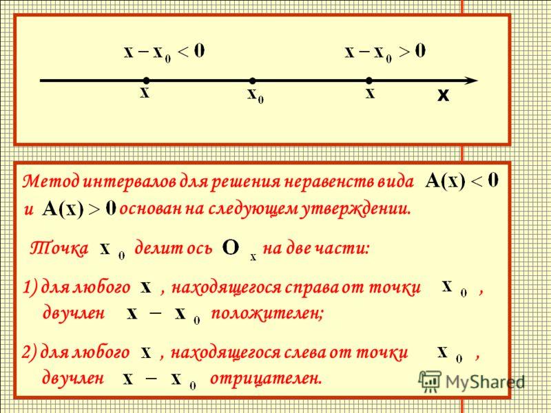 Метод интервалов для решения неравенств вида и основан на следующем утверждении. Точка делит ось на две части: 1) для любого, находящегося справа от точки, двучлен положителен; 2) для любого, находящегося слева от точки, двучлен отрицателен. Метод ин