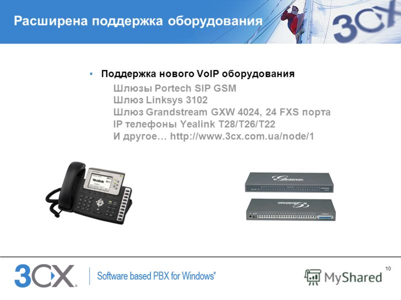 10 Copyright © 2005 ACNielsen a VNU company Расширена поддержка оборудования Поддержка нового VoIP оборудования Шлюзы Portech SIP GSM Шлюз Linksys 3102 Шлюз Grandstream GXW 4024, 24 FXS порта IP телефоны Yealink T28/T26/T22 И другое… http://www.3cx.c