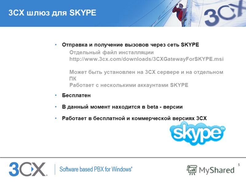 5 Copyright © 2005 ACNielsen a VNU company 3CX шлюз для SKYPE Отправка и получение вызовов через сеть SKYPE Отдельный файл инсталляции http://www.3cx.com/downloads/3CXGatewayForSKYPE.msi Может быть установлен на 3CX сервере и на отдельном ПК Работает