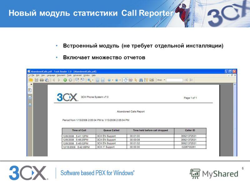 6 Copyright © 2005 ACNielsen a VNU company Новый модуль статистики Call Reporter Встроенный модуль (не требует отдельной инсталляции) Включает множество отчетов