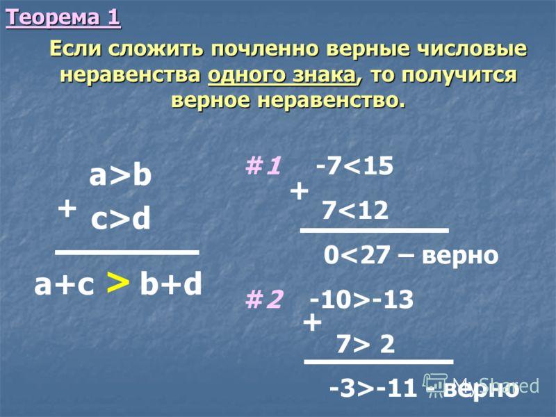 Теорема 1 Если сложить почленно верные числовые неравенства одного знака, то получится верное неравенство. Если сложить почленно верные числовые неравенства одного знака, то получится верное неравенство. a>b + #1 -7-11 - верно + + c>d a+c b+d >