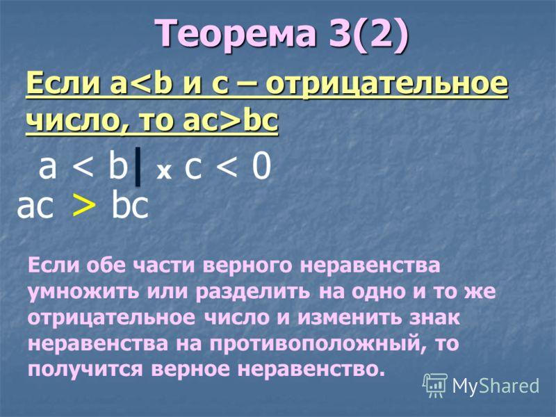 Теорема 3(2) Теорема 3(2) Если обе части верного неравенства умножить или разделить на одно и то же отрицательное число и изменить знак неравенства на противоположный, то получится верное неравенство. Если abc a < b x c < 0 ac bc >