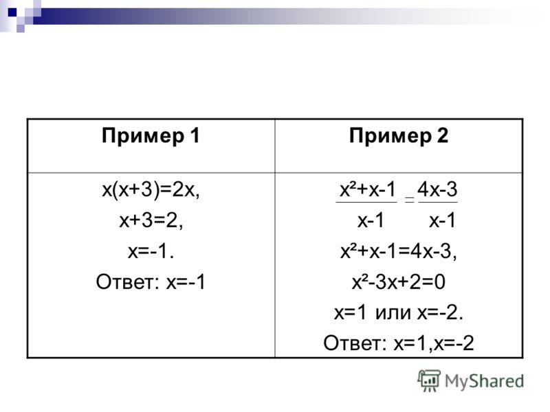 Пример 1Пример 2 х(х+3)=2х, х+3=2, х=-1. Ответ: х=-1 х²+х-1 4х-3 х-1 х-1 х²+х-1=4х-3, х²-3х+2=0 х=1 или х=-2. Ответ: х=1,х=-2
