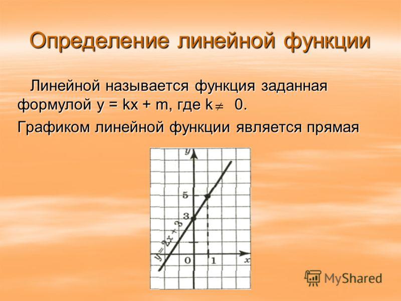 Определение линейной функции Линейной называется функция заданная формулой y = kx + m, где k 0. Графиком линейной функции является прямая