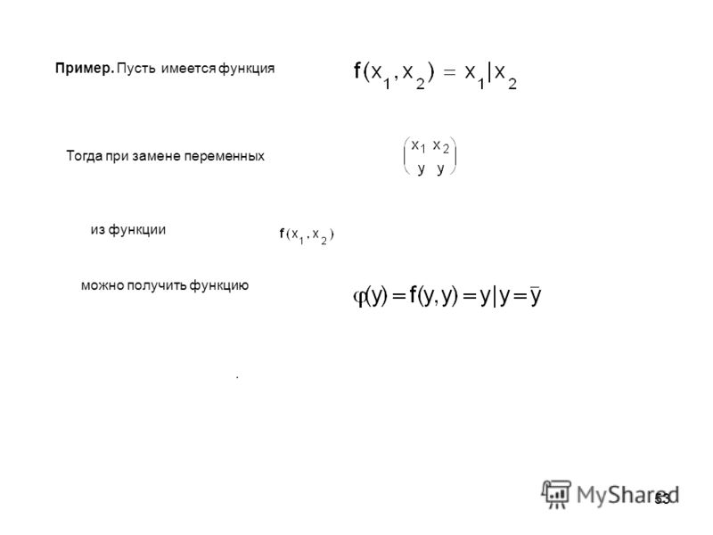 53 Пример. Пусть имеется функция Тогда при замене переменных из функции можно получить функцию.