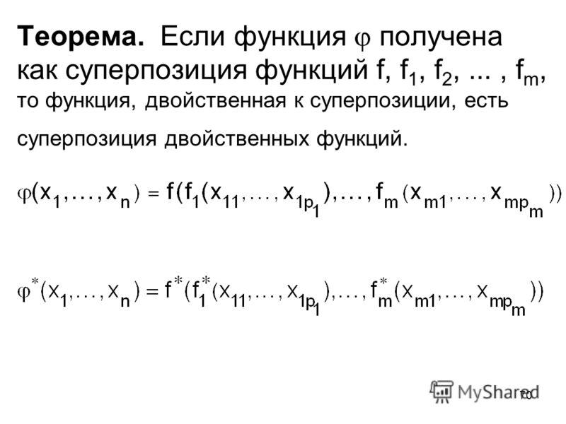 70 Теорема. Если функция получена как суперпозиция функций f, f 1, f 2,..., f m, то функция, двойственная к суперпозиции, есть суперпозиция двойственных функций.