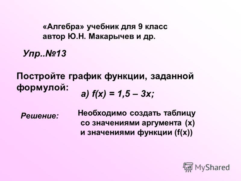 «Алгебра» учебник для 9 класс автор Ю.Н. Макарычев и др. Упр..13 Постройте график функции, заданной формулой: а) f(x) = 1,5 – 3x; Решение: Необходимо создать таблицу со значениями аргумента (х) и значениями функции (f(x))