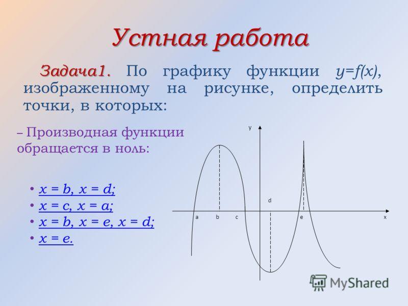 Устная работа Задача1. Задача1. По графику функции y=f(x), изображенному на рисунке, определить точки, в которых: аe d c b y x – Производная функции обращается в ноль: x = b, x = d; x = c, x = a; x = b, x = e, x = d; x = e.