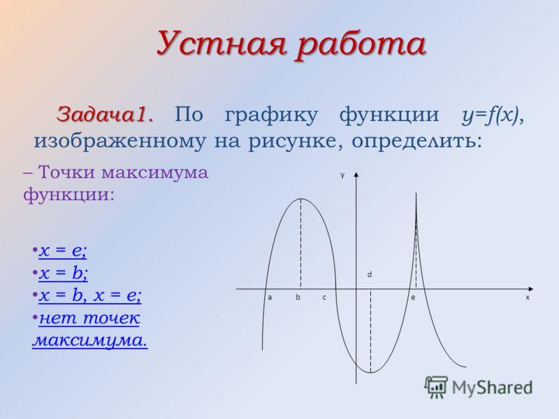 Устная работа Задача1. Задача1. По графику функции y=f(x), изображенному на рисунке, определить: аe d c b y x – Точки максимума функции: x = e; x = b; x = b, x = e; н ет точек максимума.