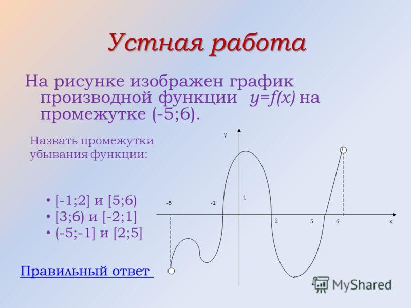 Устная работа На рисунке изображен график производной функции y=f(x) на промежутке (-5;6). -5 х 1 65 2 у Назвать промежутки убывания функции: [-1;2] и [5;6) [3;6) и [-2;1] (-5;-1] и [2;5] Правильный ответ