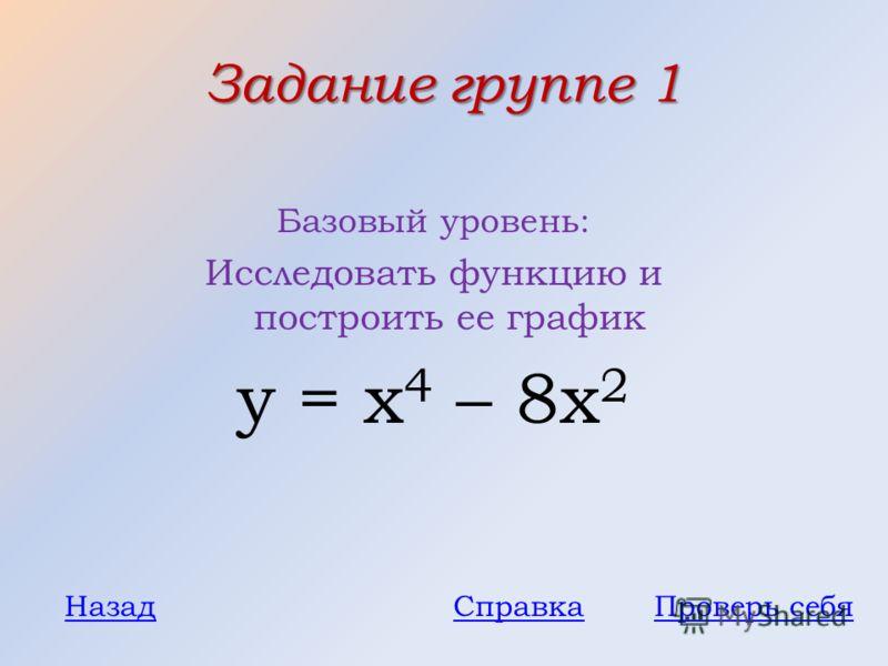 Задание группе 1 Базовый уровень: Исследовать функцию и построить ее график у = x 4 – 8x 2 Проверь себяНазадСправка