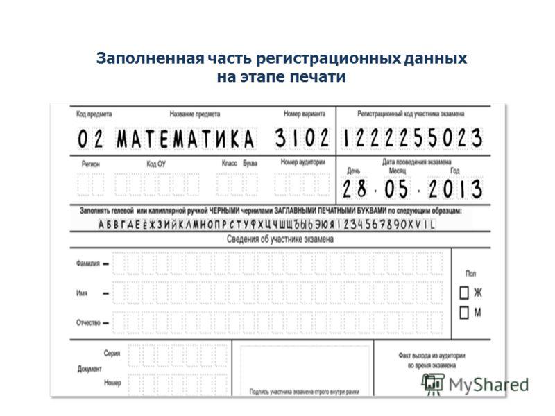 Заполненная часть регистрационных данных на этапе печати