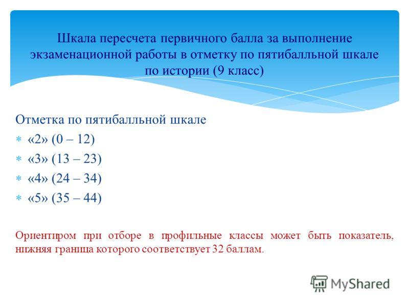 Отметка по пятибалльной шкале «2» (0 – 12) «3» (13 – 23) «4» (24 – 34) «5» (35 – 44) Ориентиром при отборе в профильные классы может быть показатель, нижняя граница которого соответствует 32 баллам. Шкала пересчета первичного балла за выполнение экза