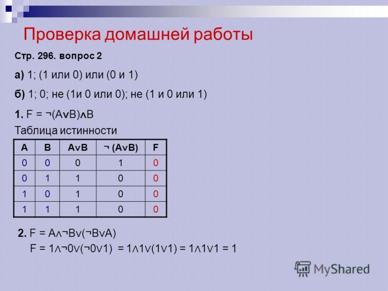 Проверка домашней работы Стр. 296. вопрос 2 а) 1; (1 или 0) или (0 и 1) б) 1; 0; не (1и 0 или 0); не (1 и 0 или 1) 1. F = ¬(A B) B Таблица истинности АВ А В¬ (А В) F 00010 01100 10100 11100 2. F = А ¬В (¬В А) F = 1 ¬0 (¬0 1) = 1 1 (1 1) = 1 1 1 = 1
