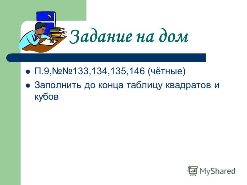 Задание на дом П.9,133,134,135,146 (чётные) Заполнить до конца таблицу квадратов и кубов
