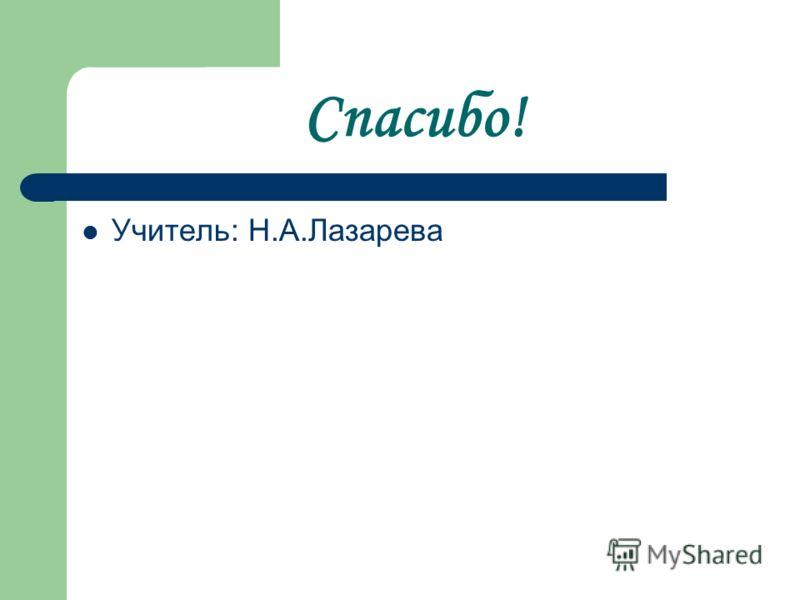 Спасибо! Учитель: Н.А.Лазарева